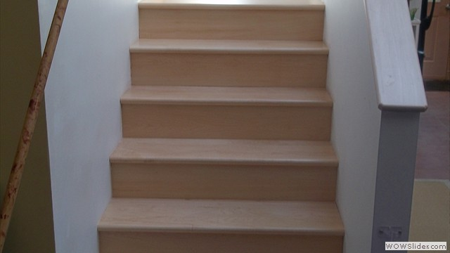 Installation Of Maple Stairwall Sand & Refinished 3 Coats Waterbase