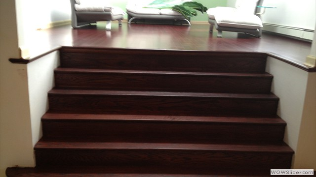 Installation Of Prefinished Bamboo & Sand & Refinishing Of Staircase To Match