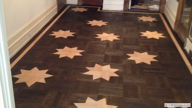 Sand & Refinishing Of Parquet With Stencilling Of Custom Made Designs With Random Selection Of Placement Manhattan, NY